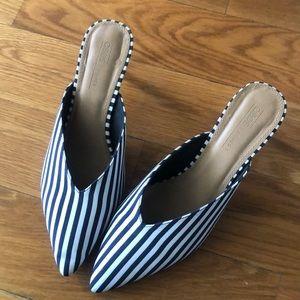 Navy/White Stripe Kitten Heel Sandal